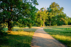 Zonsondergang bij een romantische weg in Duch-de zomerlandschap Twente Royalty-vrije Stock Afbeelding