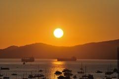 Zonsondergang bij Engelse Baai Stock Afbeelding