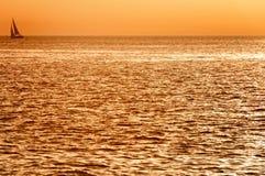 Zonsondergang bij Eolische eilanden Stock Fotografie