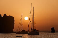 Zonsondergang bij Eolische eilanden Royalty-vrije Stock Foto