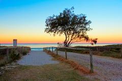 Zonsondergang bij Gouden Kust, Australië Stock Foto