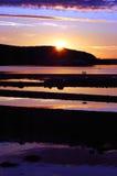 Zonsondergang bij haven   Royalty-vrije Stock Afbeeldingen