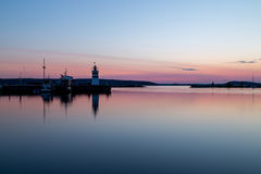 Zonsondergang bij haven Royalty-vrije Stock Fotografie