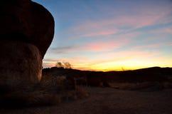 Zonsondergang bij het Marmer van de Duivel Stock Fotografie