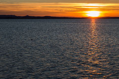 Zonsondergang bij het Meer Stock Fotografie