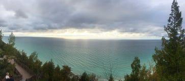 Zonsondergang bij het Meer van Michigan stock foto