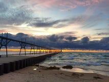 Zonsondergang bij het Meer van Michigan royalty-vrije stock fotografie