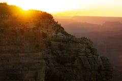 Zonsondergang bij het Nationale Park van Grand Canyon in de zomer Royalty-vrije Stock Afbeelding