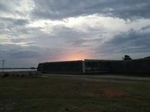 Zonsondergang bij het Nederlandse Fort van Jaffna Stock Foto