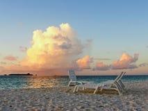Zonsondergang bij het overzees stock foto