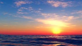 Zonsondergang bij het overzees Royalty-vrije Stock Foto's