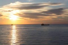 Zonsondergang bij het overzees Royalty-vrije Stock Foto