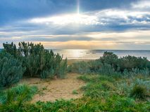 Zonsondergang bij het strand Royalty-vrije Stock Fotografie