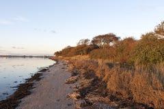 Zonsondergang bij het strand Royalty-vrije Stock Afbeeldingen