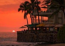 Zonsondergang bij het strand, koffie Stock Foto