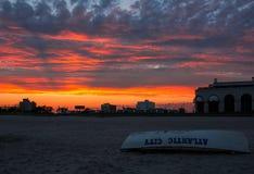 Zonsondergang bij het Strand van Atlantic City Royalty-vrije Stock Fotografie
