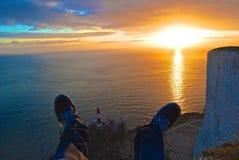 Zonsondergang bij Kiezelachtig Hoofd Stock Afbeelding