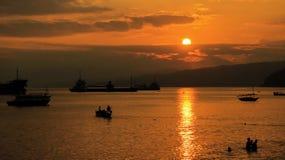 Zonsondergang bij Kleine Stad stock afbeeldingen