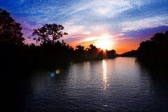 Zonsondergang bij Klias Moerasland Sabah Stock Afbeelding