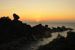 Zonsondergang bij Ko Stootkussen, Similan eiland, Thailand Stock Afbeeldingen