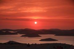 Zonsondergang bij Kornati-eilanden, Kroatië Royalty-vrije Stock Afbeelding