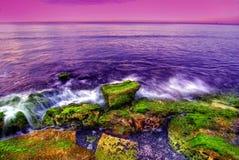 Zonsondergang bij kust Royalty-vrije Stock Foto's