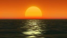 Zonsondergang bij kust van het overzees royalty-vrije illustratie
