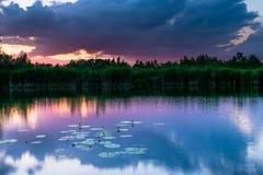 Zonsondergang bij meer Stock Afbeeldingen