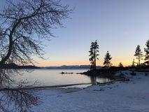 Zonsondergang bij Meer Tahoe Californië stock afbeeldingen