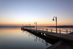Zonsondergang bij Meer Trasimeno stock fotografie
