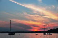 Zonsondergang bij Meer Washington Stock Foto