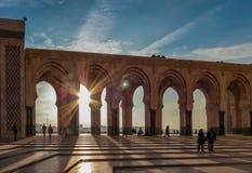 Zonsondergang bij Moskee Hassan II Casablanca Marokko Royalty-vrije Stock Fotografie