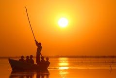 Zonsondergang bij nalsarovar stock foto's
