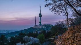 Zonsondergang bij Namsan-Toren in Seoel, Zuid-Korea stock videobeelden