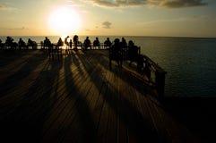 Zonsondergang bij oceaan Stock Foto