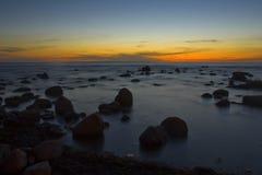 Zonsondergang bij Oostzee Royalty-vrije Stock Afbeelding