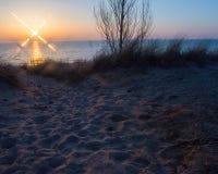 Zonsondergang bij Ovaal Strand Saugatuck Royalty-vrije Stock Foto