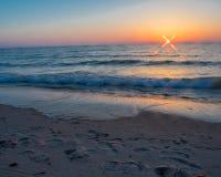 Zonsondergang bij Ovaal Strand Saugatuck Stock Foto's