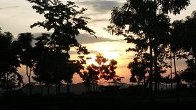 Zonsondergang bij Park Stock Afbeeldingen