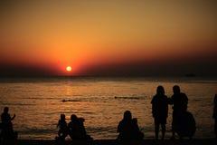 Zonsondergang bij Pattaya-Strand, Thailand Royalty-vrije Stock Foto