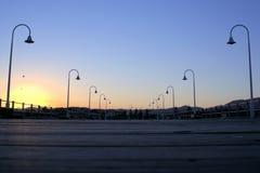 Zonsondergang bij pier in Australië Stock Fotografie