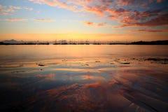 Zonsondergang bij porthmellonstrand, Eilanden van Scilly, Engeland Stock Fotografie