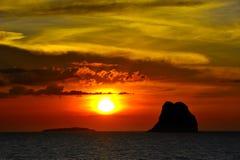 Zonsondergang bij Samui-eiland Stock Foto