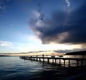 Zonsondergang bij strand Royalty-vrije Stock Foto