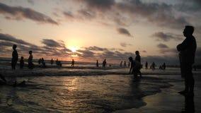 Zonsondergang bij strand Royalty-vrije Stock Afbeelding