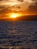 Zonsondergang bij Strand Waikiki Stock Foto's