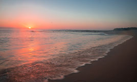 Zonsondergang bij Struisbaai-Haven, Kaap Agulhas, Zuid-Afrika royalty-vrije stock afbeeldingen