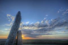 Zonsondergang bij Teter-Rots, Flint Hills, Kansas Royalty-vrije Stock Foto's