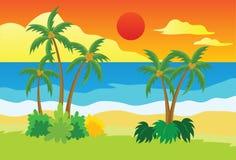 Zonsondergang bij Tropische Strand Vectorillustratie Stock Fotografie