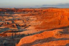 Zonsondergang bij Weinig Geschilderde Woestijn, Arizona Royalty-vrije Stock Afbeeldingen